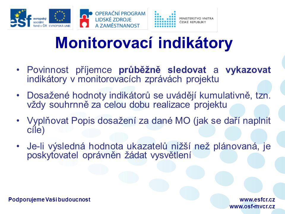 Monitorovací indikátory Povinnost příjemce průběžně sledovat a vykazovat indikátory v monitorovacích zprávách projektu Dosažené hodnoty indikátorů se uvádějí kumulativně, tzn.