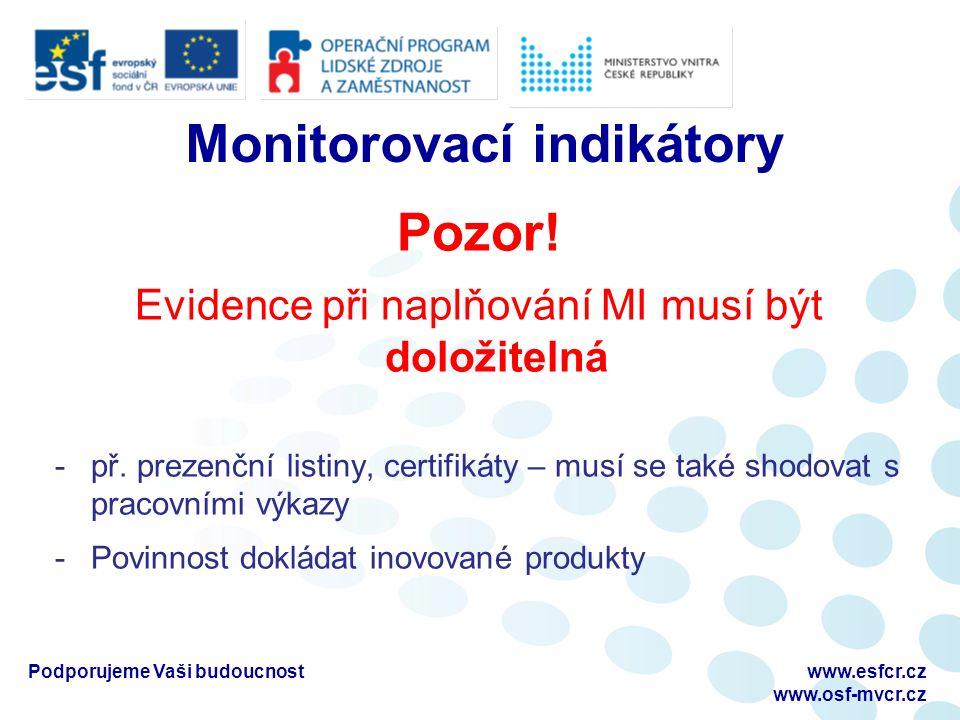 Monitorovací indikátory Pozor. Evidence při naplňování MI musí být doložitelná -př.