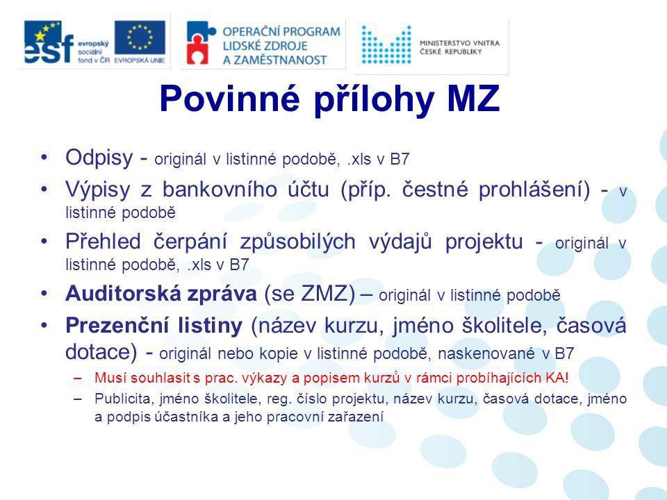 Povinné přílohy MZ Odpisy - originál v listinné podobě,.xls v B7 Výpisy z bankovního účtu (příp.