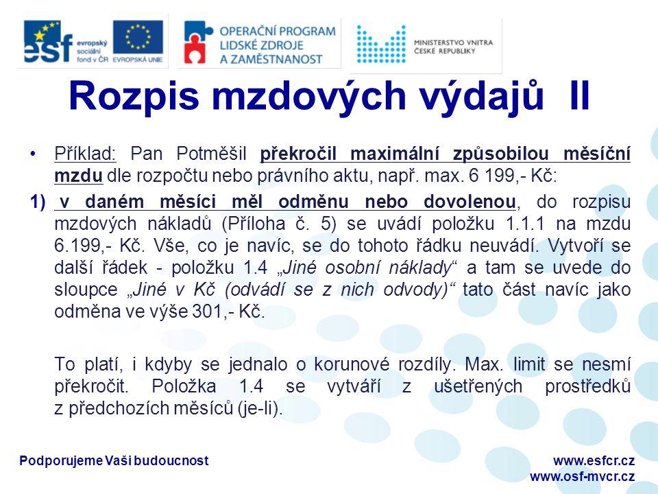 Rozpis mzdových výdajů II Příklad: Pan Potměšil překročil maximální způsobilou měsíční mzdu dle rozpočtu nebo právního aktu, např.