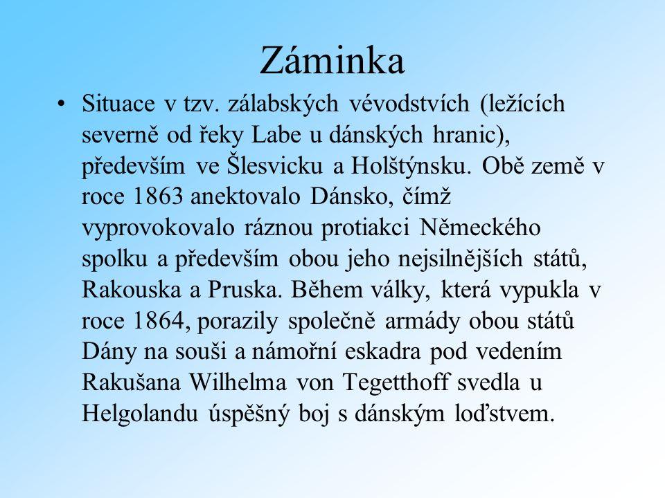 Holštýnsko – pod správou Rakouska, které bylo odhodláno mu udělit samostatnost Prusko reaguje velmi ostře Prusko a Itálie uzavřely 8.