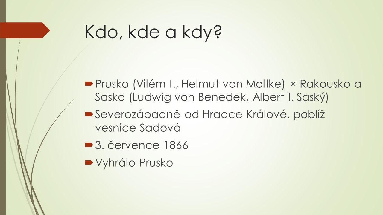 Kdo, kde a kdy?  Prusko (Vilém I., Helmut von Moltke) × Rakousko a Sasko (Ludwig von Benedek, Albert I. Saský)  Severozápadně od Hradce Králové, pob