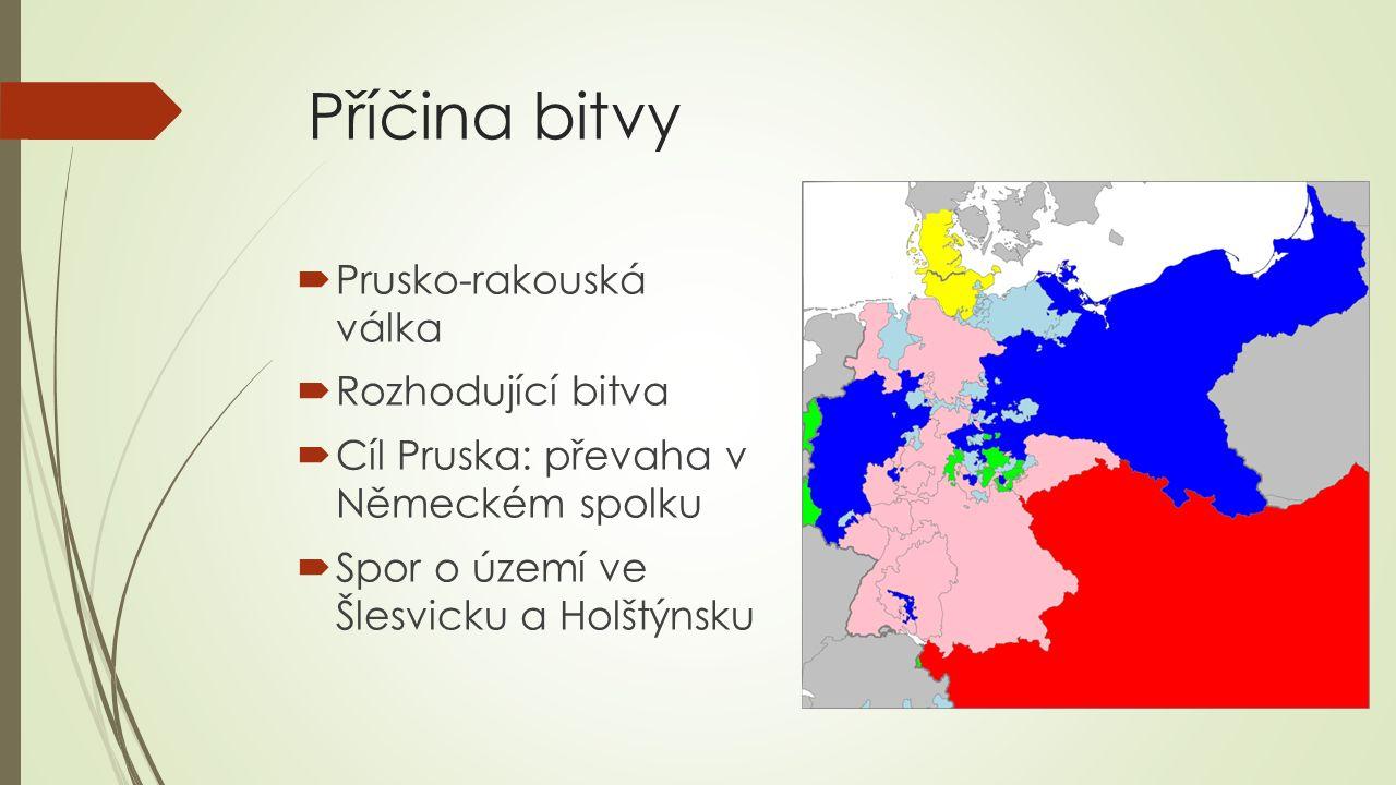 Příčina bitvy  Prusko-rakouská válka  Rozhodující bitva  Cíl Pruska: převaha v Německém spolku  Spor o území ve Šlesvicku a Holštýnsku