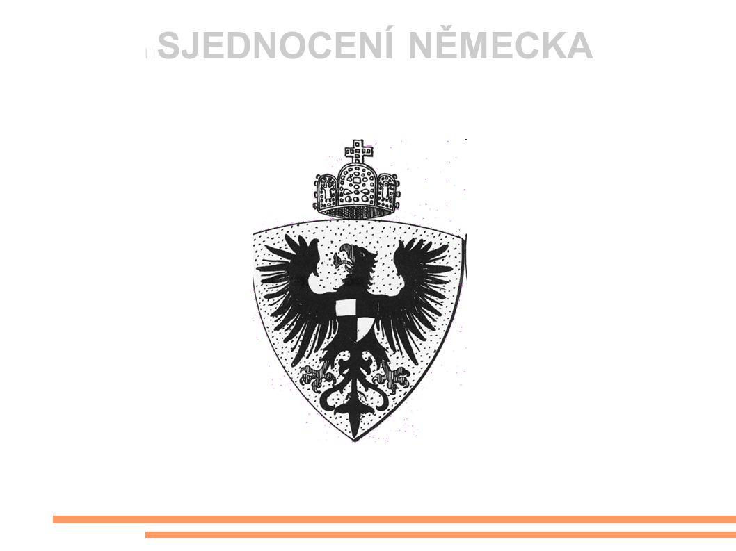 """Situace po roce 1848 * Pruský král odmítl přijmout císařskou korunu z rukou frankfurtského parlamentu * Obnoven Německý spolek * Neustálé soupeření Rakouska a Pruska o nadvládu v Německu * """"krví a železem * Strůjcem pruský šlechtic Otto von Bismarck"""