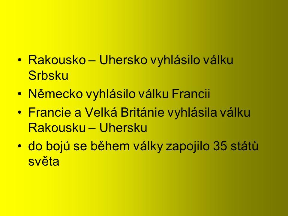 Rakousko – Uhersko vyhlásilo válku Srbsku Německo vyhlásilo válku Francii Francie a Velká Británie vyhlásila válku Rakousku – Uhersku do bojů se během války zapojilo 35 států světa