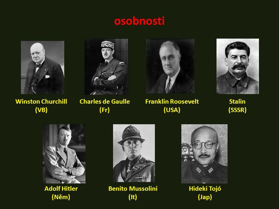osobnosti Winston Churchill (VB) Stalin (SSSR) Hideki Tojó (Jap) Charles de Gaulle (Fr) Adolf Hitler (Něm) Benito Mussolini (It) Franklin Roosevelt (U