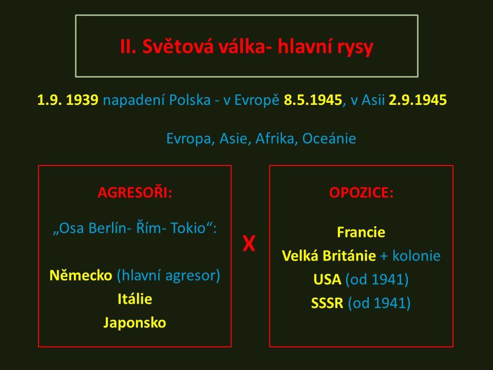 II. Světová válka- hlavní rysy 1.9.