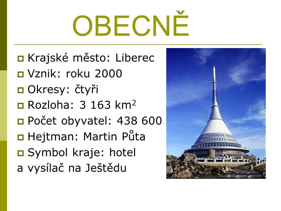 OBECNĚ  Krajské město: Liberec  Vznik: roku 2000  Okresy: čtyři  Rozloha: 3 163 km 2  Počet obyvatel: 438 600  Hejtman: Martin Půta  Symbol kraje: hotel a vysílač na Ještědu