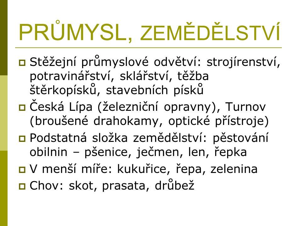 PRŮMYSL, ZEMĚDĚLSTVÍ  Stěžejní průmyslové odvětví: strojírenství, potravinářství, sklářství, těžba štěrkopísků, stavebních písků  Česká Lípa (železn