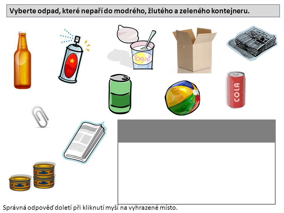 Vyberte odpad, které nepaří do modrého, žlutého a zeleného kontejneru. Správná odpověď doletí při kliknutí myší na vyhrazené místo.