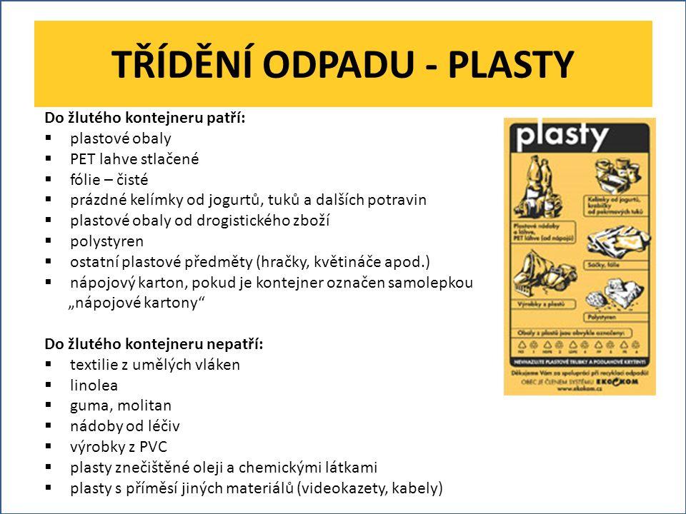 TŘÍDĚNÍ ODPADU - PLASTY Do žlutého kontejneru patří:  plastové obaly  PET lahve stlačené  fólie – čisté  prázdné kelímky od jogurtů, tuků a dalšíc