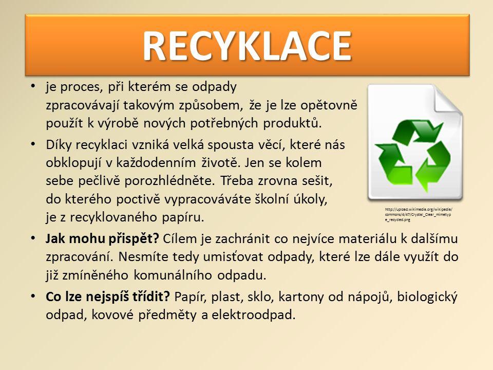 RECYKLACERECYKLACE je proces, při kterém se odpady zpracovávají takovým způsobem, že je lze opětovně použít k výrobě nových potřebných produktů.