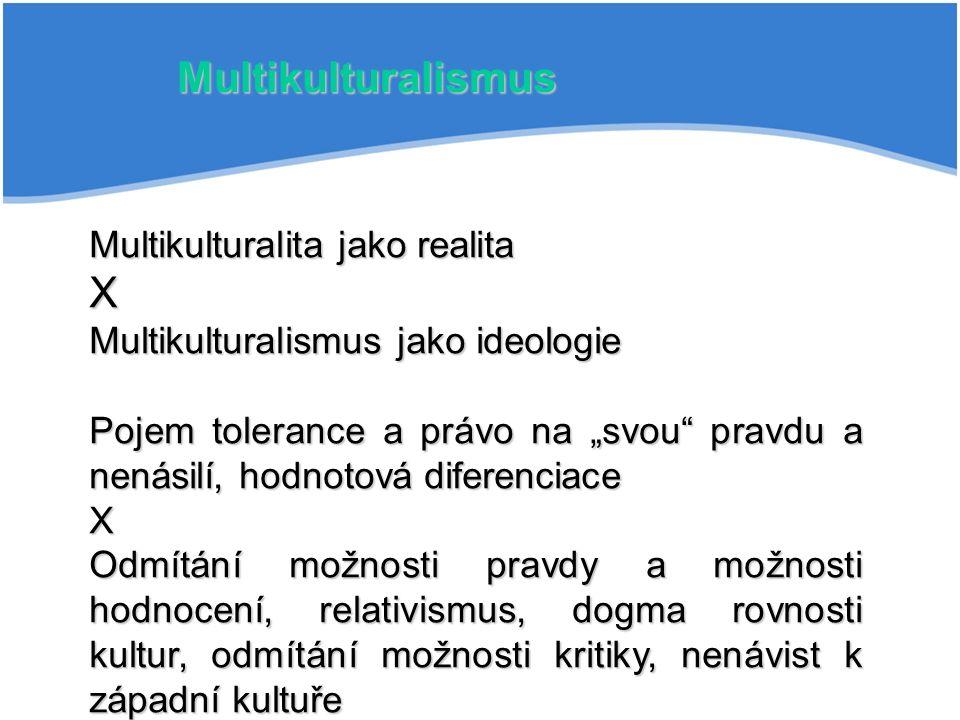 """Multikulturalismus Multikulturalita jako realita X Multikulturalismus jako ideologie Pojem tolerance a právo na """"svou pravdu a nenásilí, hodnotová diferenciace X Odmítání možnosti pravdy a možnosti hodnocení, relativismus, dogma rovnosti kultur, odmítání možnosti kritiky, nenávist k západní kultuře"""