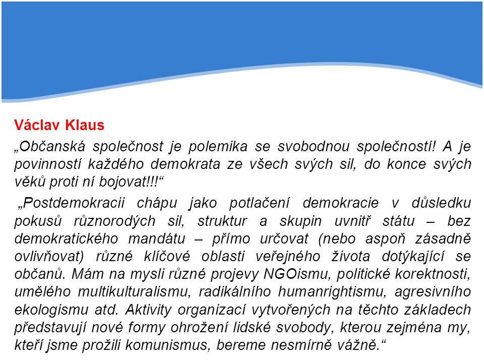 """Václav Klaus """"Občanská společnost je polemika se svobodnou společností."""