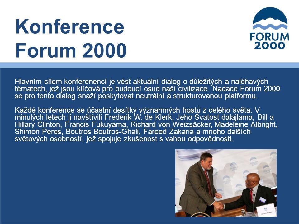 Hlavním cílem konferenencí je vést aktuální dialog o důležitých a naléhavých tématech, jež jsou klíčová pro budoucí osud naší civilizace.