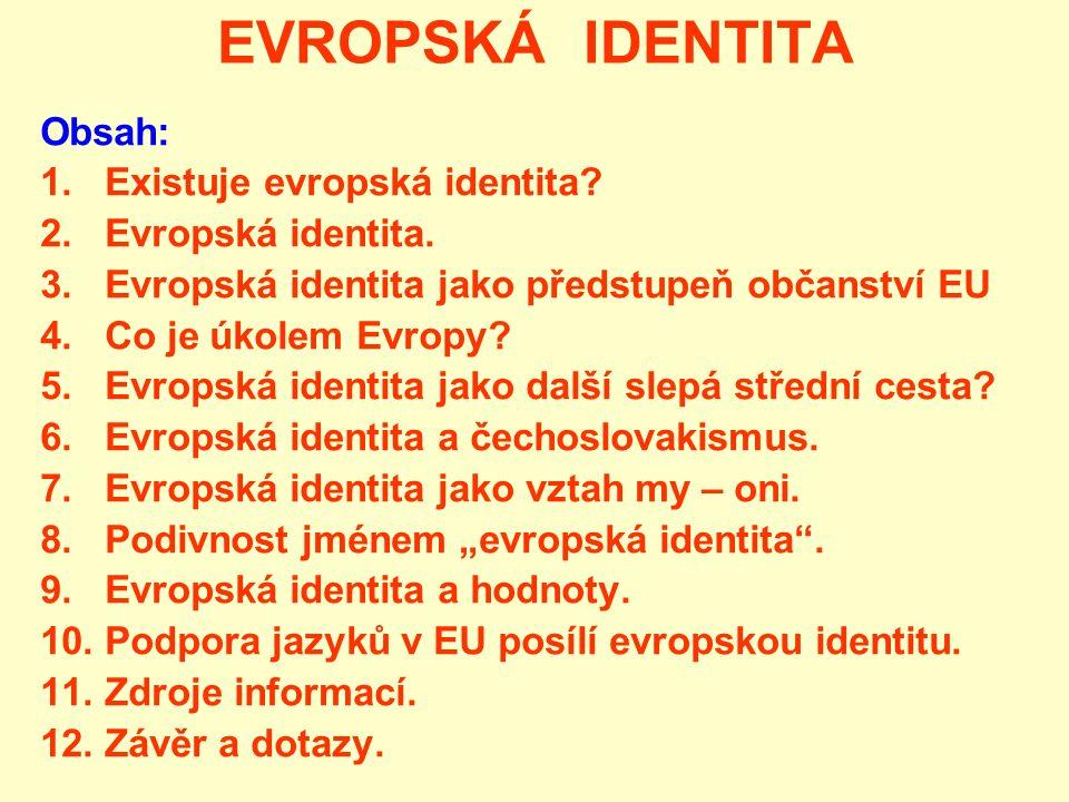 EVROPSKÁ IDENTITA Obsah: 1. Existuje evropská identita? 2. Evropská identita. 3. Evropská identita jako předstupeň občanství EU 4. Co je úkolem Evropy