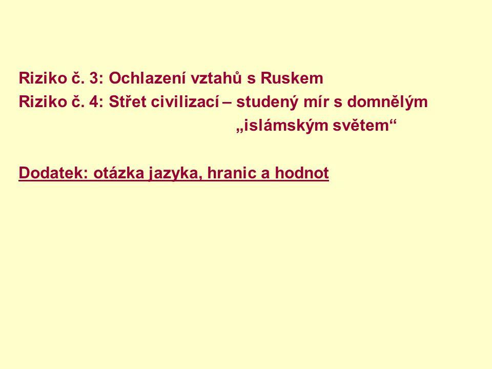 """Riziko č. 3: Ochlazení vztahů s Ruskem Riziko č. 4: Střet civilizací – studený mír s domnělým """"islámským světem"""" Dodatek: otázka jazyka, hranic a hodn"""