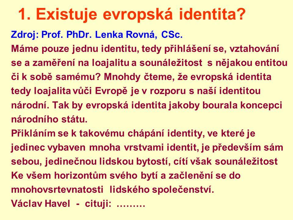 1. Existuje evropská identita? Zdroj: Prof. PhDr. Lenka Rovná, CSc. Máme pouze jednu identitu, tedy přihlášení se, vztahování se a zaměření na loajali