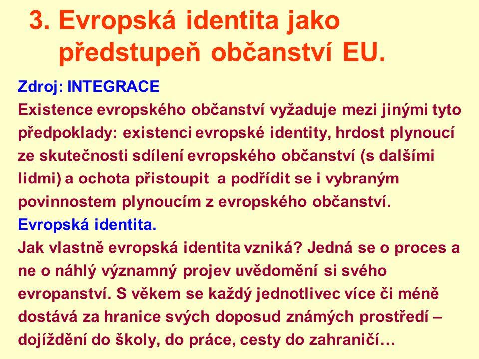 3. Evropská identita jako předstupeň občanství EU. Zdroj: INTEGRACE Existence evropského občanství vyžaduje mezi jinými tyto předpoklady: existenci ev