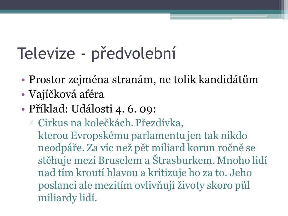 Televize - předvolební Prostor zejména stranám, ne tolik kandidátům Vajíčková aféra Příklad: Události 4.
