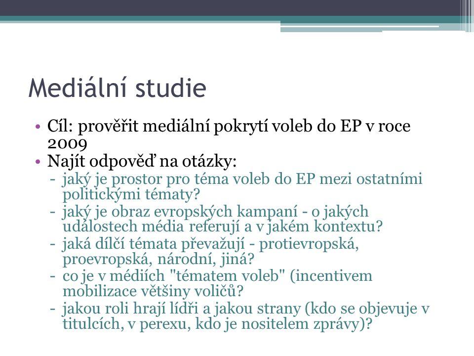 Mediální studie Cíl: prověřit mediální pokrytí voleb do EP v roce 2009 Najít odpověď na otázky: -jaký je prostor pro téma voleb do EP mezi ostatními politickými tématy.