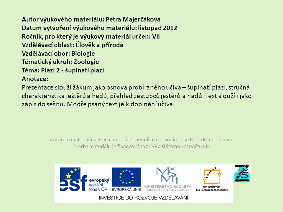 Autor výukového materiálu: Petra Majerčáková Datum vytvoření výukového materiálu: listopad 2012 Ročník, pro který je výukový materiál určen: VII Vzděl
