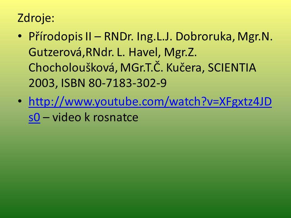 Zdroje: Přírodopis II – RNDr. Ing.L.J. Dobroruka, Mgr.N.