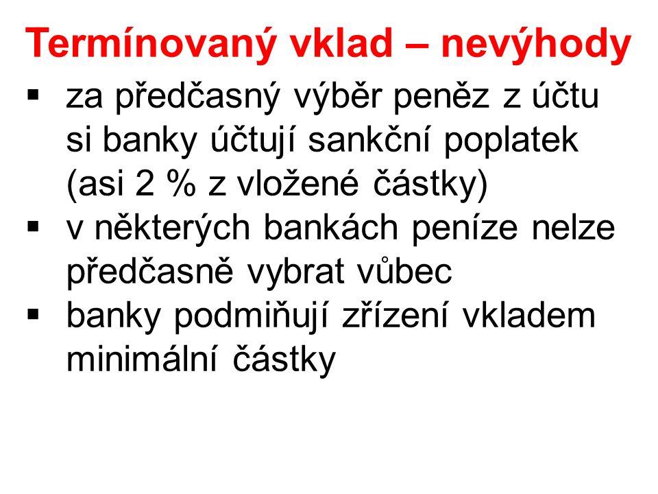 Termínovaný vklad – nevýhody  za předčasný výběr peněz z účtu si banky účtují sankční poplatek (asi 2 % z vložené částky)  v některých bankách peníze nelze předčasně vybrat vůbec  banky podmiňují zřízení vkladem minimální částky