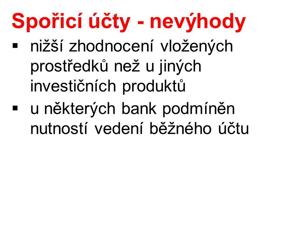 Spořicí účty - nevýhody  nižší zhodnocení vložených prostředků než u jiných investičních produktů  u některých bank podmíněn nutností vedení běžného účtu