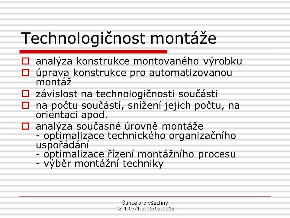 Šance pro všechny CZ.1.07/1.2.06/02.0012 Technologičnost montáže  analýza konstrukce montovaného výrobku  úprava konstrukce pro automatizovanou montáž  závislost na technologičnosti součásti  na počtu součástí, snížení jejich počtu, na orientaci apod.