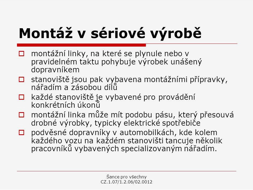 Šance pro všechny CZ.1.07/1.2.06/02.0012 Podvěsný dopravník Výrobní linka