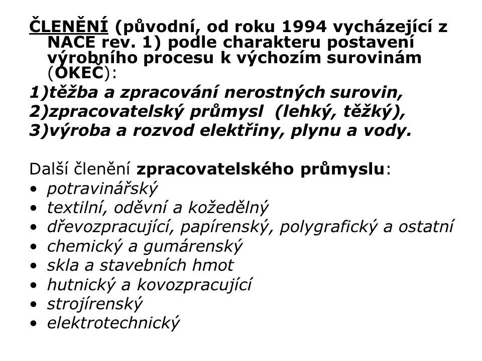 ČLENĚNÍ (původní, od roku 1994 vycházející z NACE rev. 1) podle charakteru postavení výrobního procesu k výchozím surovinám (OKEČ): 1)těžba a zpracová