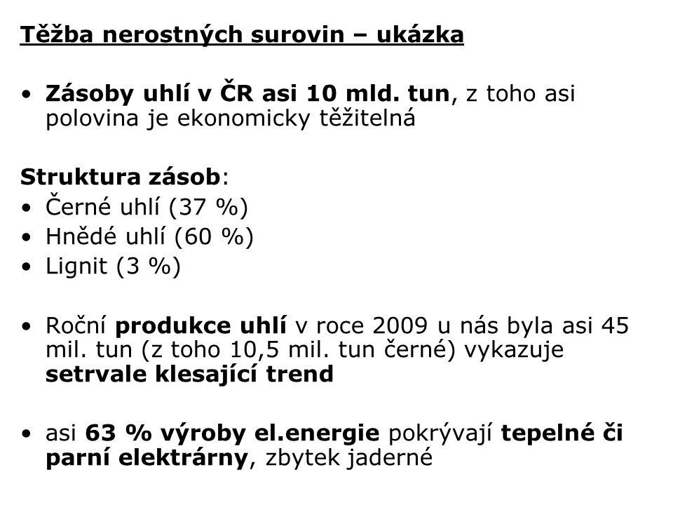 Těžba nerostných surovin – ukázka Zásoby uhlí v ČR asi 10 mld. tun, z toho asi polovina je ekonomicky těžitelná Struktura zásob: Černé uhlí (37 %) Hně