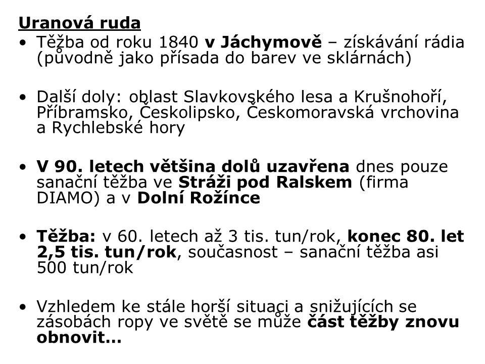 Uranová ruda Těžba od roku 1840 v Jáchymově – získávání rádia (původně jako přísada do barev ve sklárnách) Další doly: oblast Slavkovského lesa a Kruš