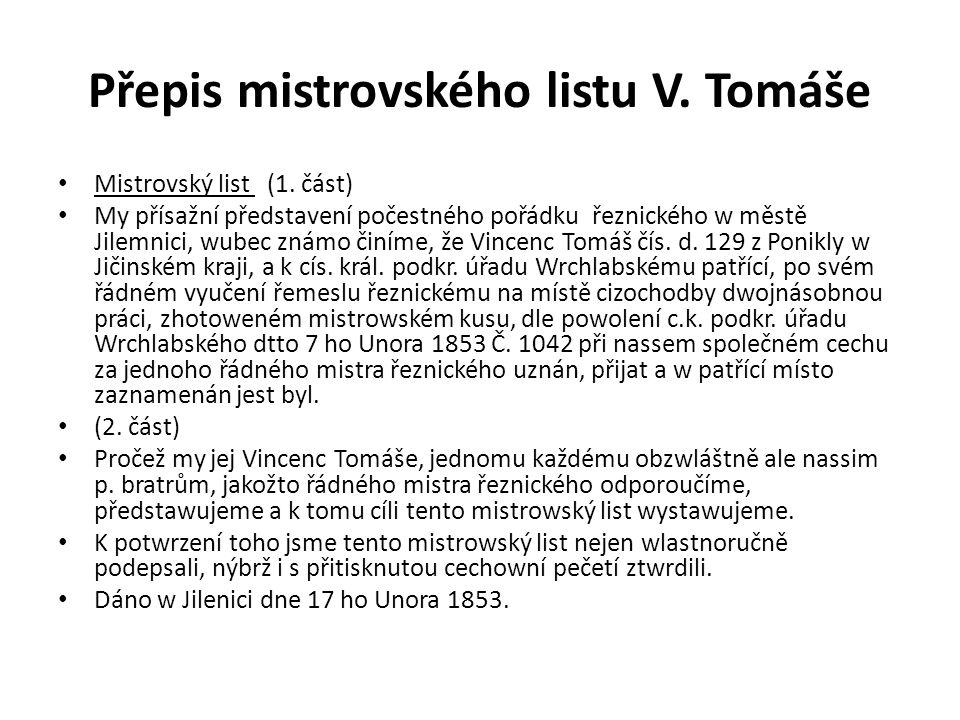 Přepis mistrovského listu V. Tomáše Mistrovský list (1.