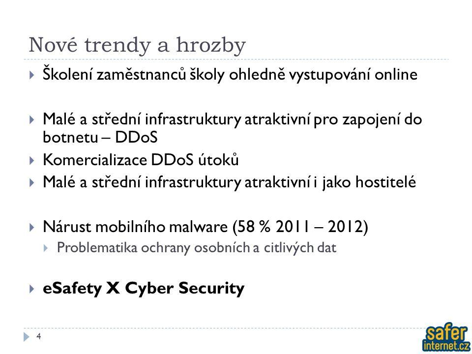Nové trendy a hrozby  Školení zaměstnanců školy ohledně vystupování online  Malé a střední infrastruktury atraktivní pro zapojení do botnetu – DDoS  Komercializace DDoS útoků  Malé a střední infrastruktury atraktivní i jako hostitelé  Nárust mobilního malware (58 % 2011 – 2012)  Problematika ochrany osobních a citlivých dat  eSafety X Cyber Security 4