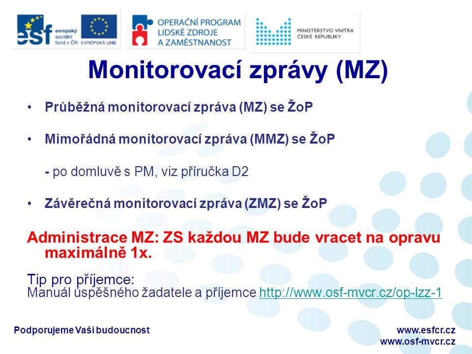 Monitorovací zprávy (MZ) Průběžná monitorovací zpráva (MZ) se ŽoP Mimořádná monitorovací zpráva (MMZ) se ŽoP - po domluvě s PM, viz příručka D2 Závěrečná monitorovací zpráva (ZMZ) se ŽoP Administrace MZ: ZS každou MZ bude vracet na opravu maximálně 1x.