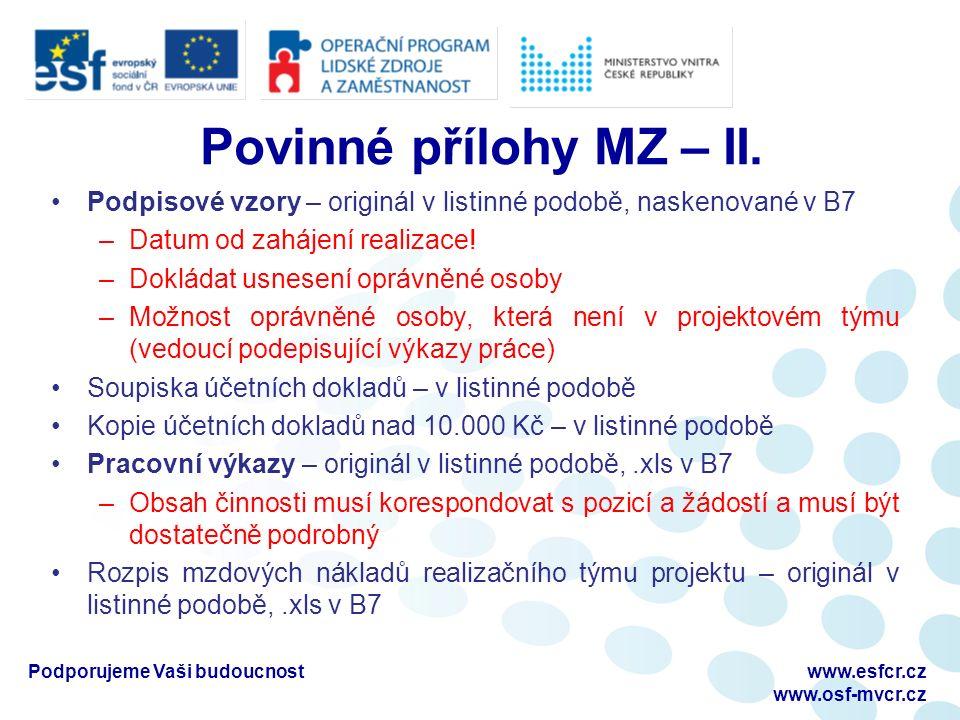 Povinné přílohy MZ – II.