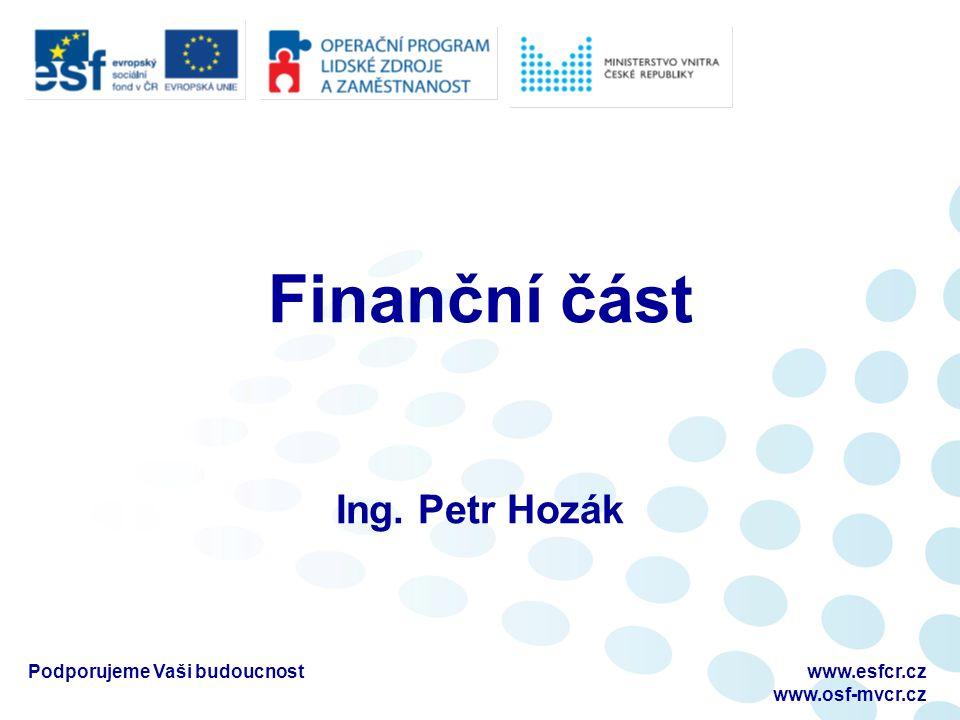 Podporujeme Vaši budoucnostwww.esfcr.cz www.osf-mvcr.cz Finanční část Ing. Petr Hozák