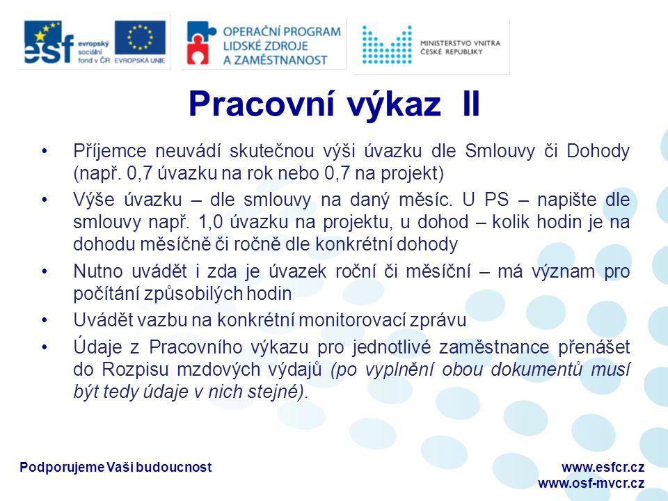 Pracovní výkaz II Příjemce neuvádí skutečnou výši úvazku dle Smlouvy či Dohody (např.