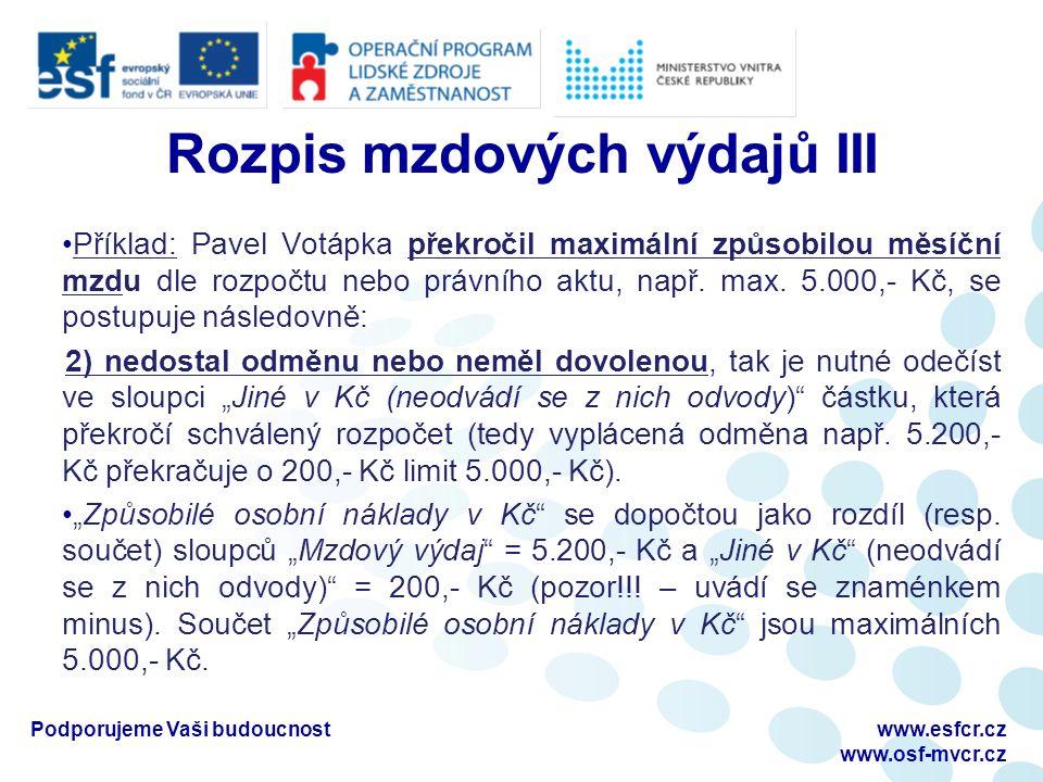 Rozpis mzdových výdajů III Příklad: Pavel Votápka překročil maximální způsobilou měsíční mzdu dle rozpočtu nebo právního aktu, např.
