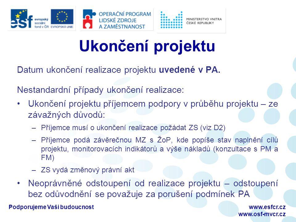Změny a doplnění projektu Příručka pro příjemce D2 Nepodstatné změny projektu Není třeba změna PA, nemají vliv na plnění cílů projektu Příjemce dostatečně popíše a zdůvodní v nejbližší monitorovací zprávě Všechny související části následující MZ a ŽoP musí tuto změnu reflektovat Podstatné změny projektu Většinou vyžaduje změnu PA (formou Dodatku k PA) Nutný souhlas poskytovatele dotace Podporujeme Vaši budoucnostwww.esfcr.cz www.osf-mvcr.cz