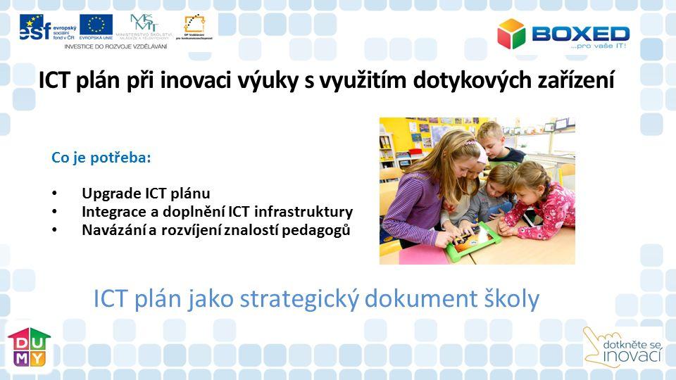 Co je potřeba: Upgrade ICT plánu Integrace a doplnění ICT infrastruktury Navázání a rozvíjení znalostí pedagogů