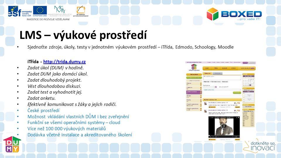 Sjednoťte zdroje, úkoly, testy v jednotném výukovém prostředí – iTřída, Edmodo, Schoology, Moodle iTřída - http://trida.dumy.czhttp://trida.dumy.cz Zadat úkol (DUM) v hodině.