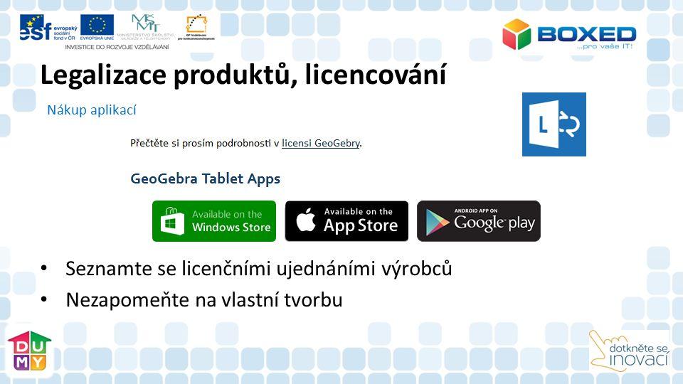 Nákup aplikací Seznamte se licenčními ujednáními výrobců Nezapomeňte na vlastní tvorbu Legalizace produktů, licencování