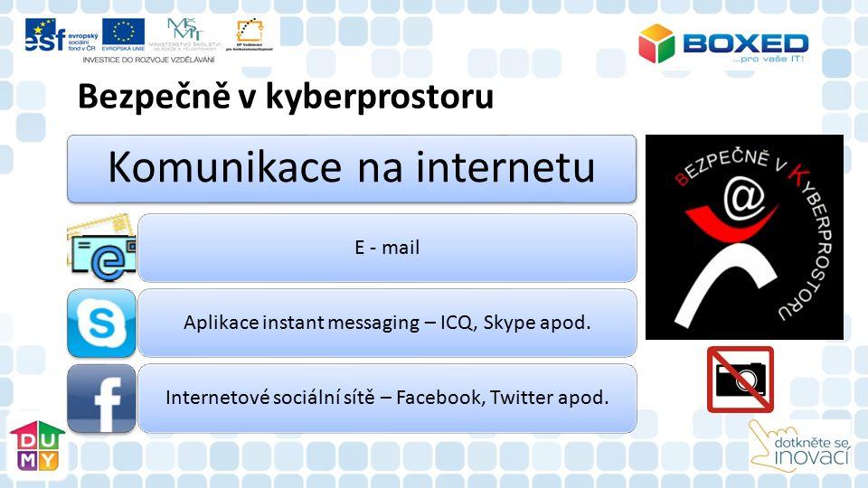 Bezpečně v kyberprostoru Komunikace na internetu E - mailAplikace instant messaging – ICQ, Skype apod.Internetové sociální sítě – Facebook, Twitter apod.