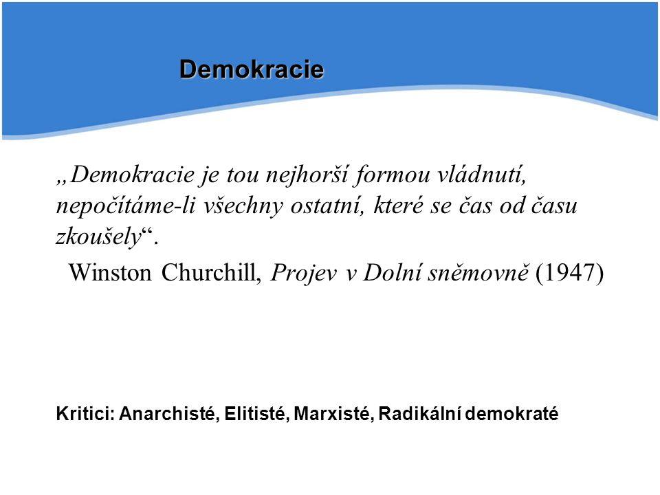 """""""Demokracie je tou nejhorší formou vládnutí, nepočítáme-li všechny ostatní, které se čas od času zkoušely ."""