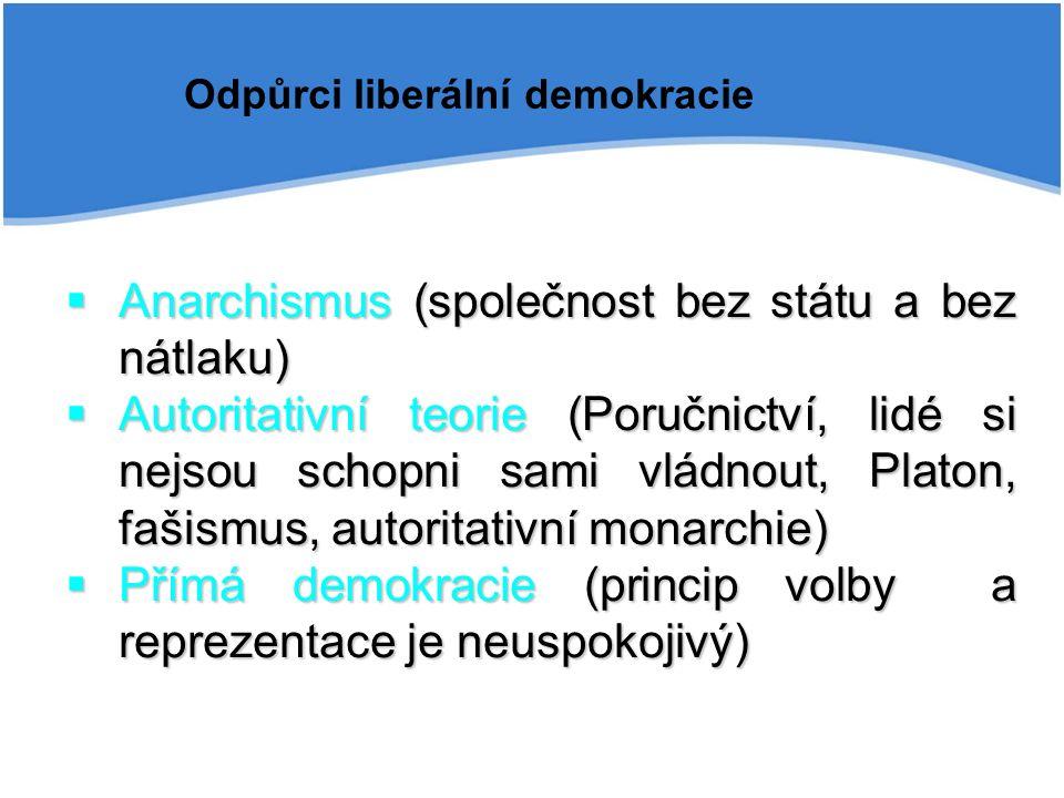 Odpůrci liberální demokracie  Anarchismus (společnost bez státu a bez nátlaku)  Autoritativní teorie (Poručnictví, lidé si nejsou schopni sami vládnout, Platon, fašismus, autoritativní monarchie)  Přímá demokracie (princip volby a reprezentace je neuspokojivý)