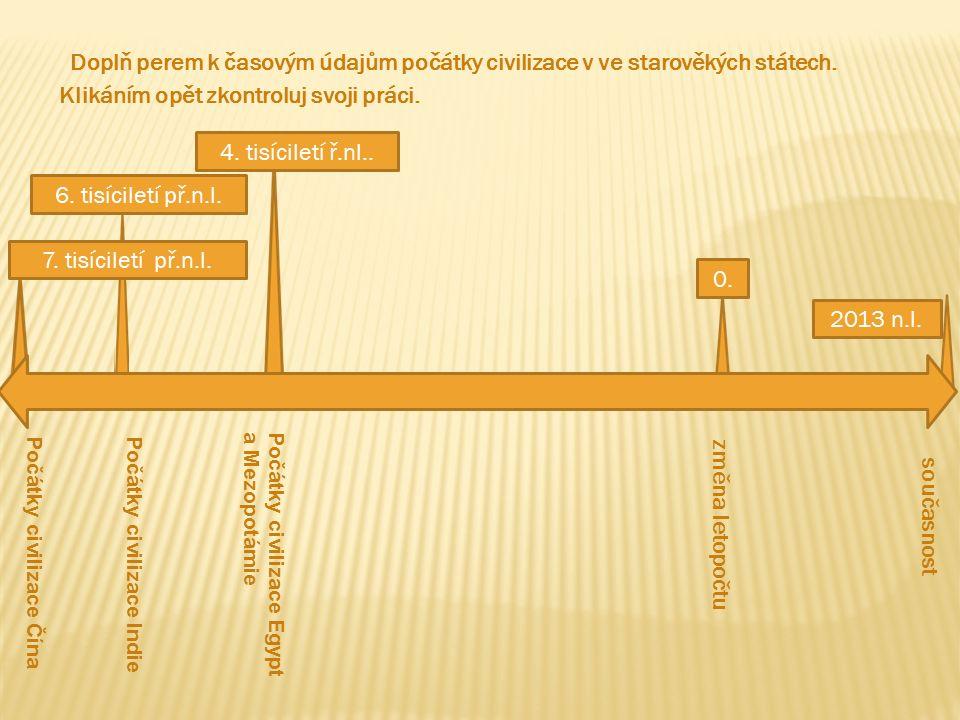 Doplň perem k časovým údajům počátky civilizace v ve starověkých státech.