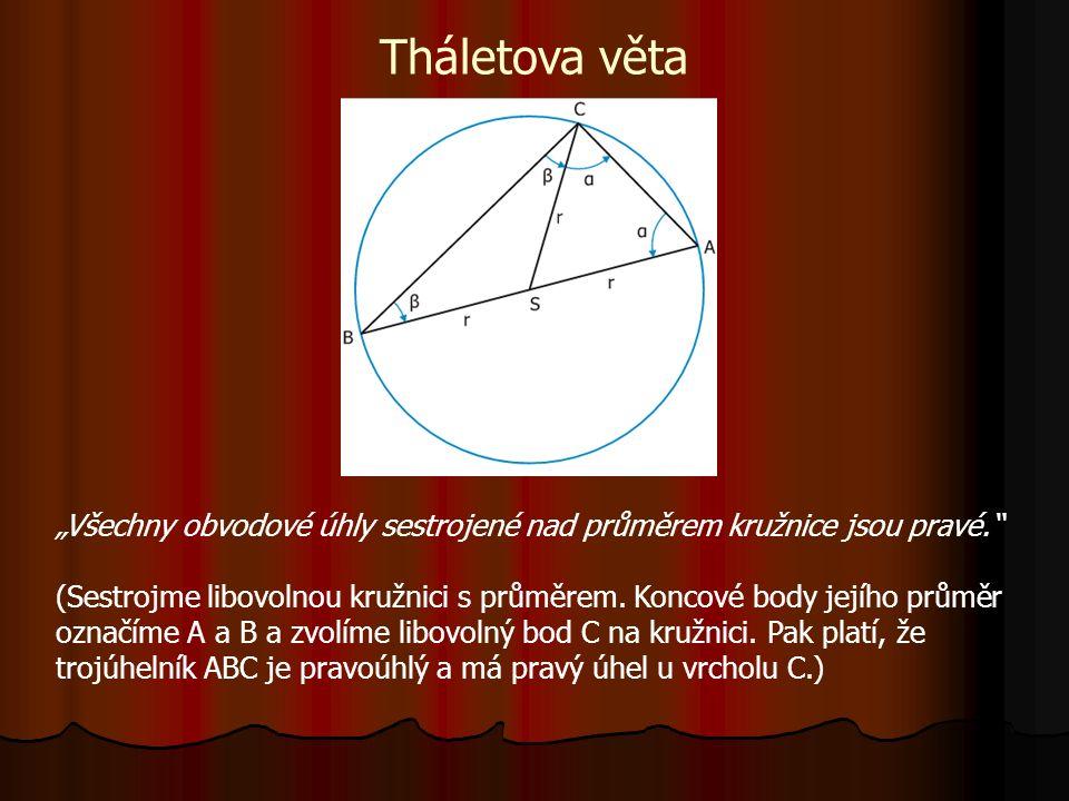 """Tháletova věta """"Všechny obvodové úhly sestrojené nad průměrem kružnice jsou pravé. (Sestrojme libovolnou kružnici s průměrem."""